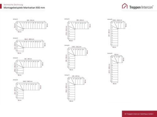 Mittelholmtreppe Manhattan: Beispielverlauf mit Treppenbreite 90 cm