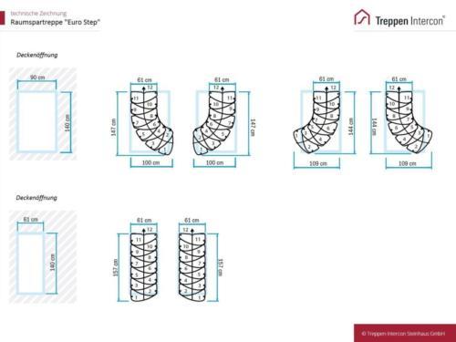 Raumspartreppe Euro Step | technische Zeichnung
