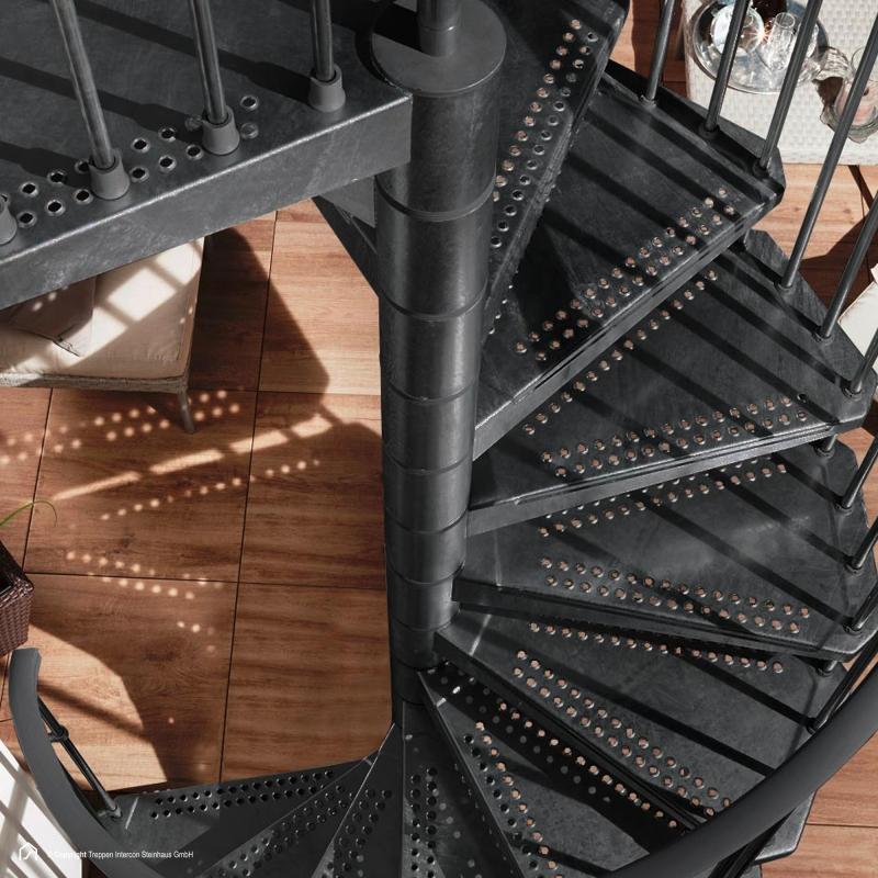 Stahltreppe Intercon® Steel Zink Sky | Lava-Anthrazit Edition