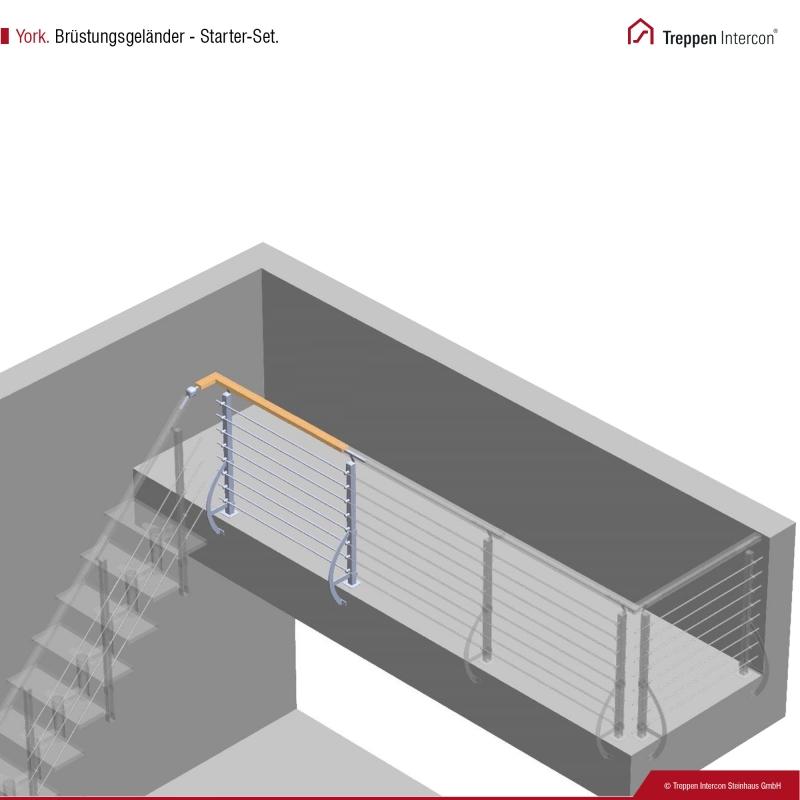 Brüstungsgeländer für Mittelholmtreppe Intercon® York | Starter-Set