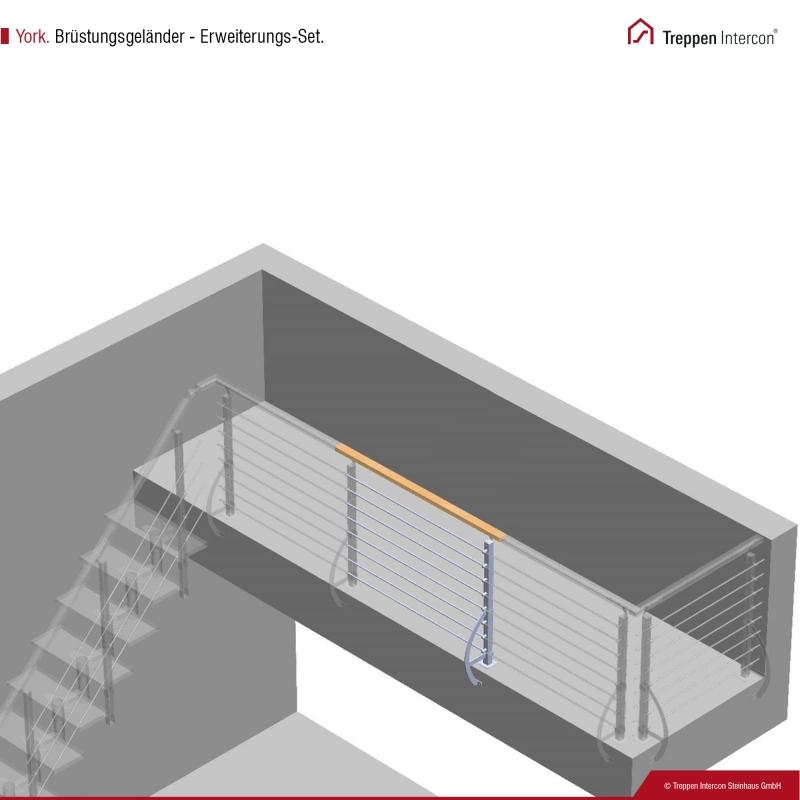 Brüstungsgeländer für Mittelholmtreppe Intercon® York | Erweiterung