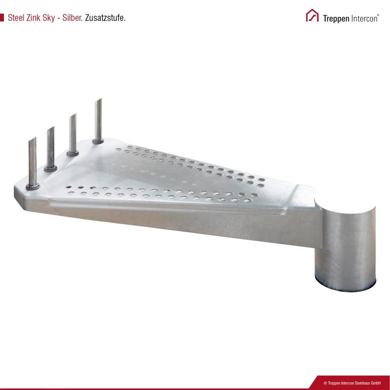 Zusatzstufe für Außentreppe Intercon® Steel Zink Sky   Silber-Effekt Edition