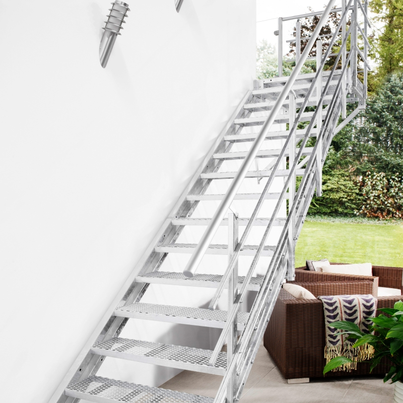 Stahltreppe Intercon® Hollywood | Streckgitter Edition mit Podest